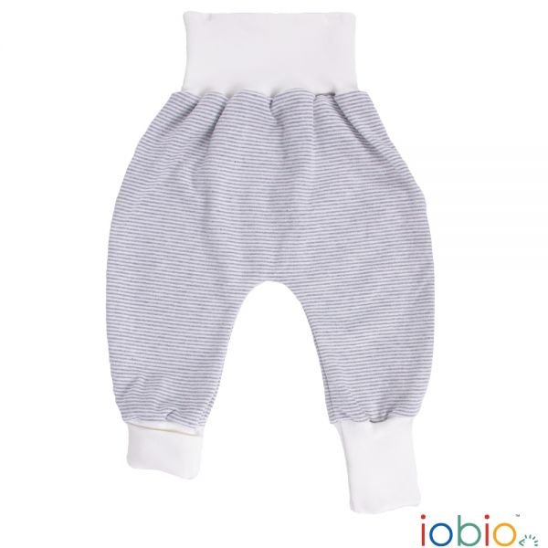 Pantaloni Crawlers in cotone biologico righe grigie