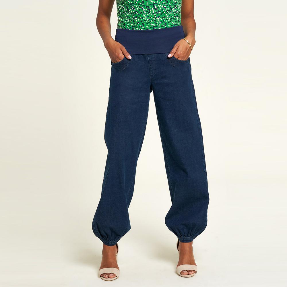 Pantaloni Jeans Baggy con fascia elastica in Cotone Biologico