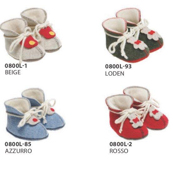Pantofole primi passi in lana cotta