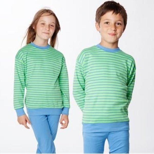 Pigiama righe azzurre/verdi