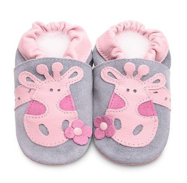 Pink giraffe classic girls soft soled leather baby shoes