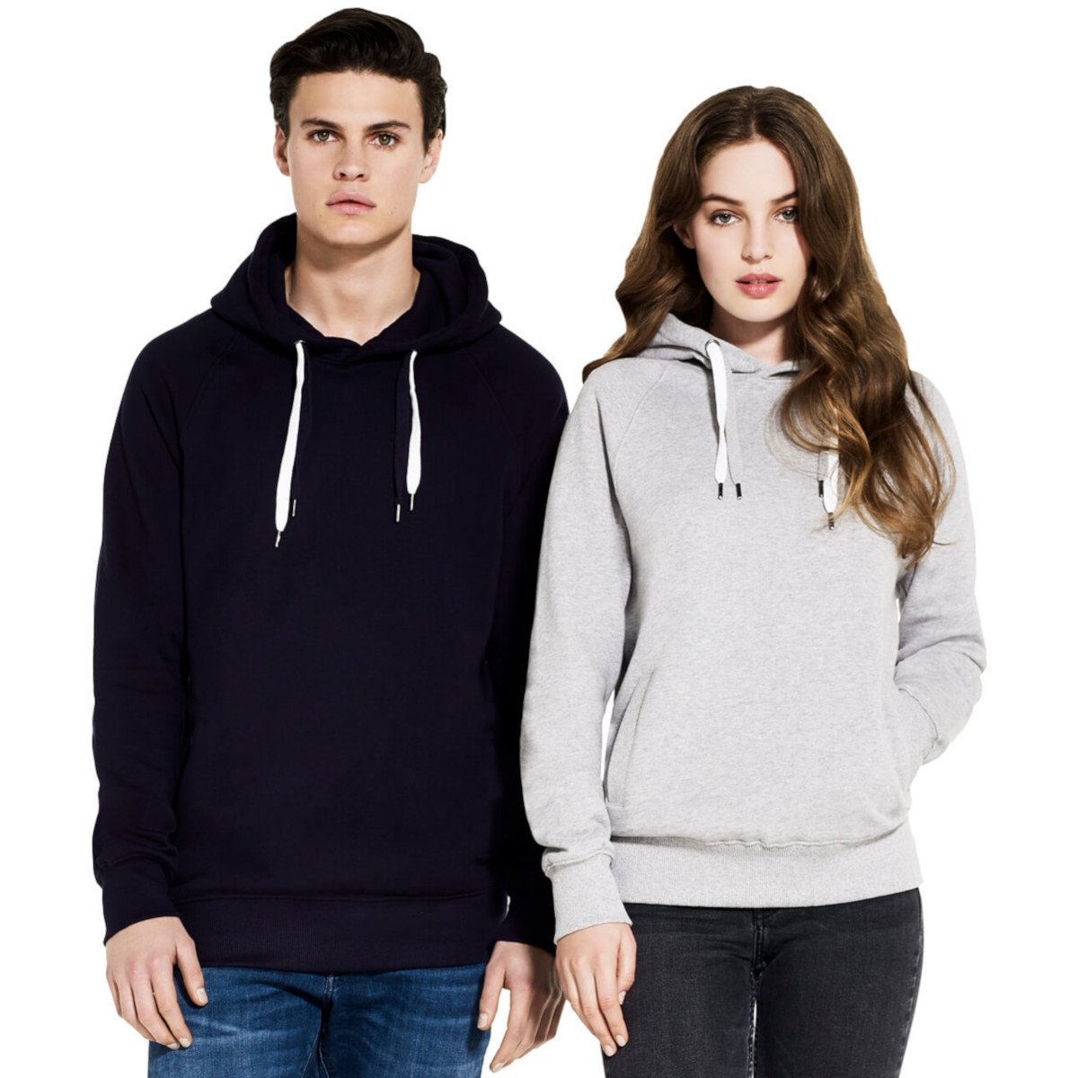 Pullover raglan hoody unisex in organic cotton