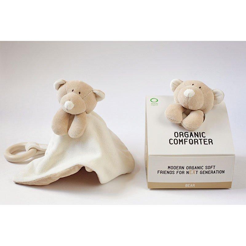 Doudou Comforter Bear in cotone bio con anello in legno
