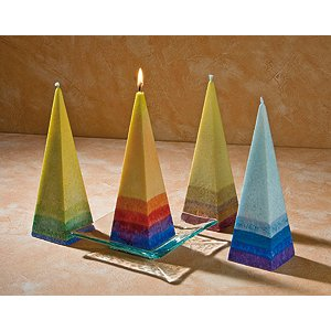 Pyramid candles in vegetable stearin