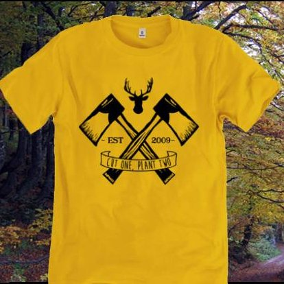Rapanui Lumberjack Mustard Mens t-shirt in organic cotton