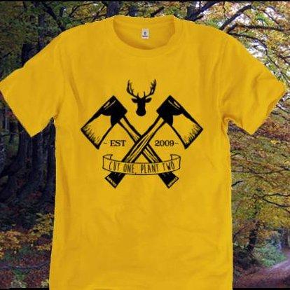 Rapanui T-shirt Lumberjack Gialla uomo in cotone bio