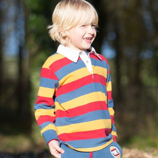 Rugby polo shirt boy in heavy organic cotton