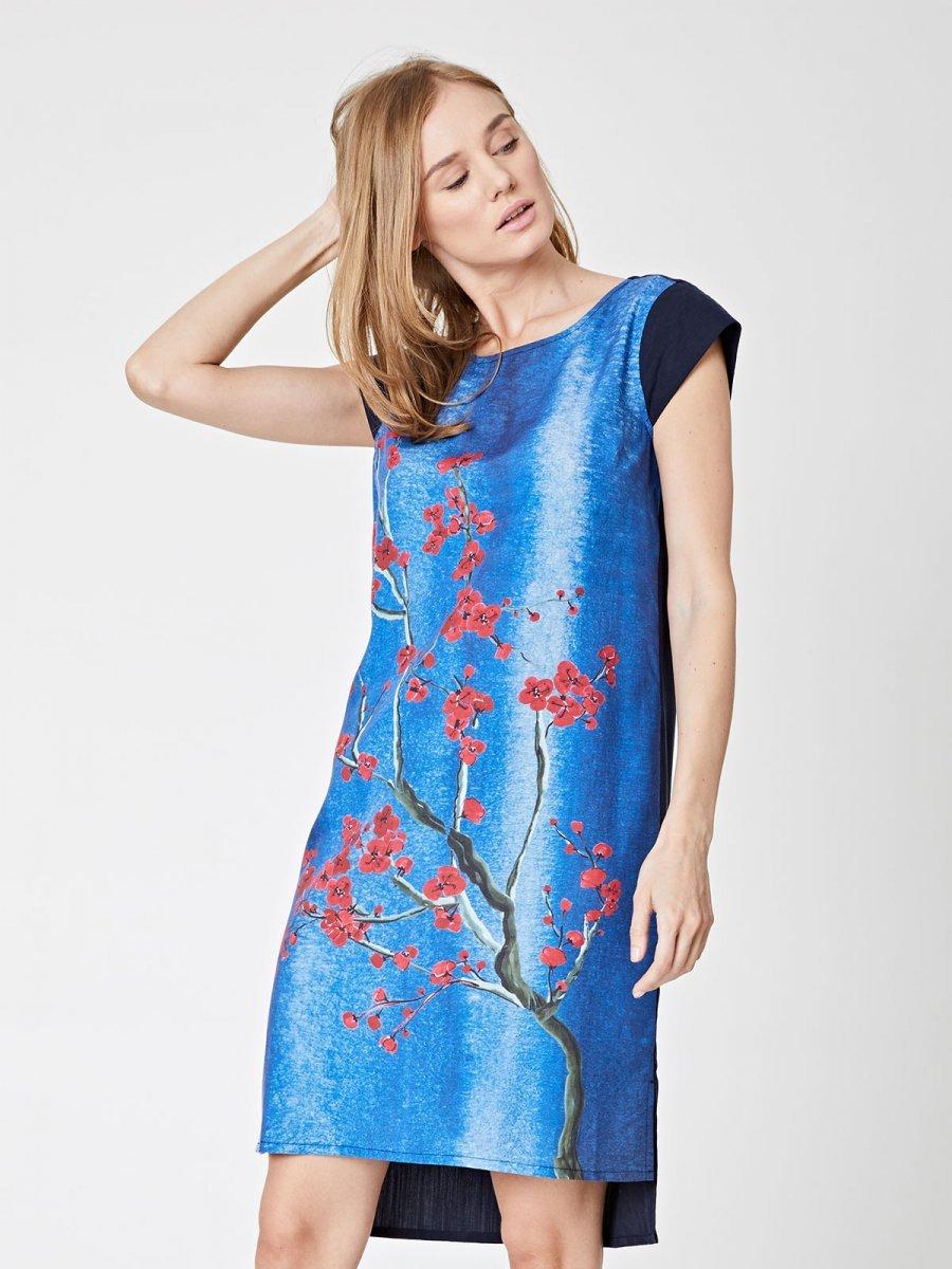 Sakura floral print dress in tencel