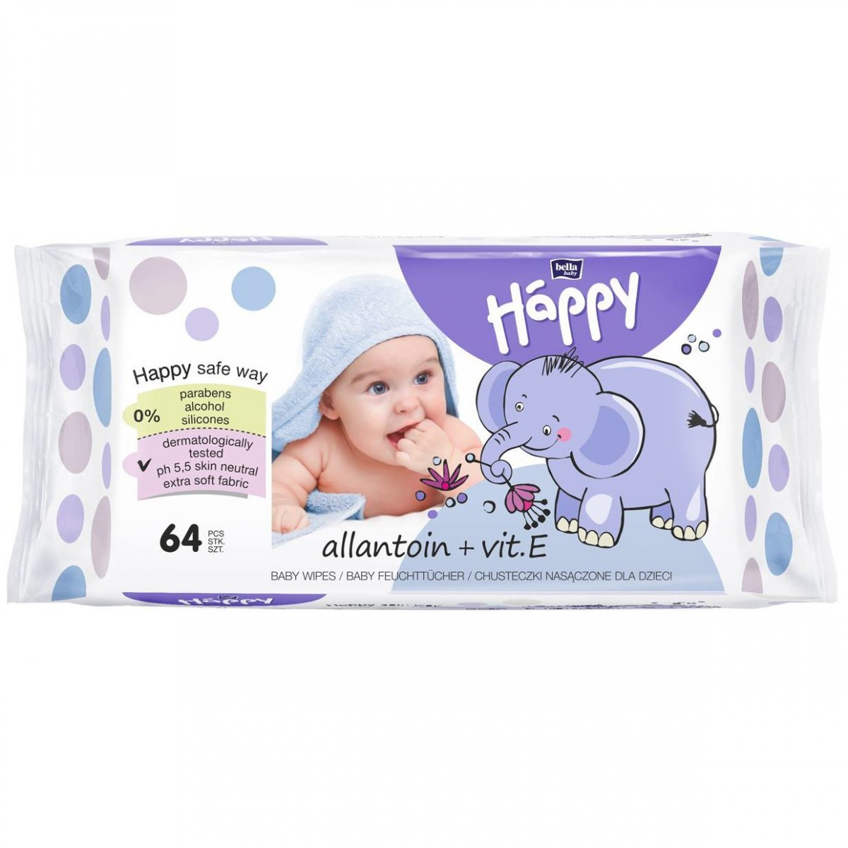 Salviette Allantoina e Vit E Happy BellaBaby - 64 pezzi