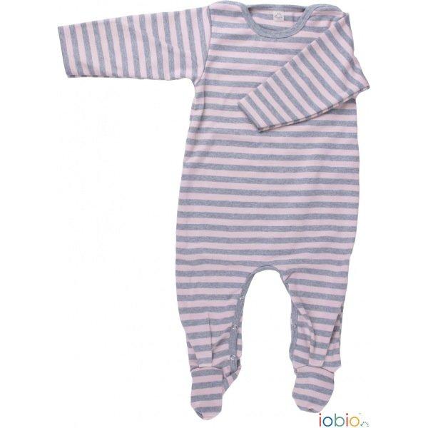 Rose/grey striped light babysuit