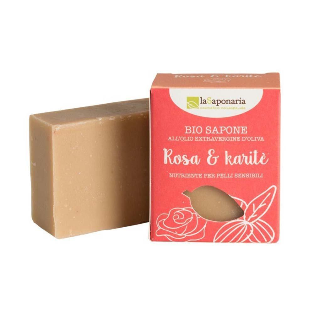 Sapone bio all'olio extravergine d'oliva Rosa e Karitè - pelli sensibili