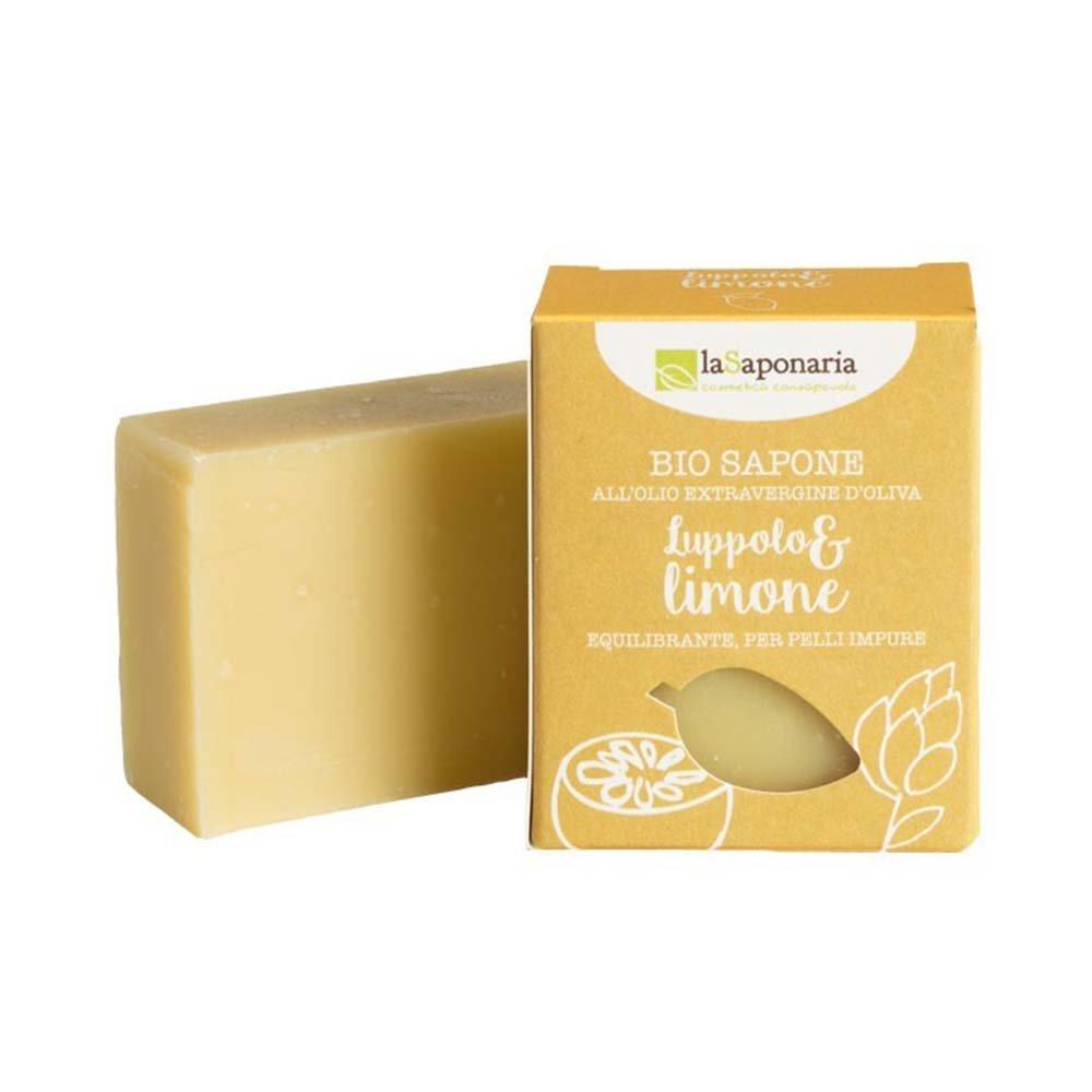 Sapone bio all'olio extravergine d'oliva Luppolo e Limone pelli impure