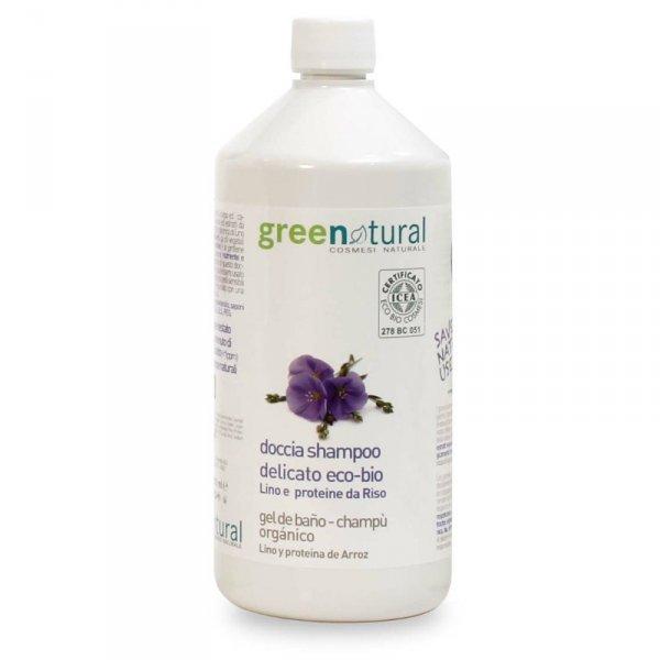 Shampoo doccia eco-bio Lino e proteine del Riso - 1 lt