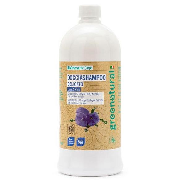 Shampoo doccia delicato eco-bio Lino e proteine del Riso - 1 lt