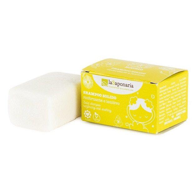 Shampoo solido rinforzante e lenitivo con prebiotico