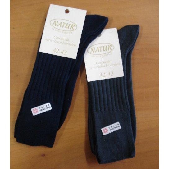 Short sanitary socks in dyed organic cotton