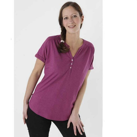 Short sleeve shirt V-neck for woman in hemp