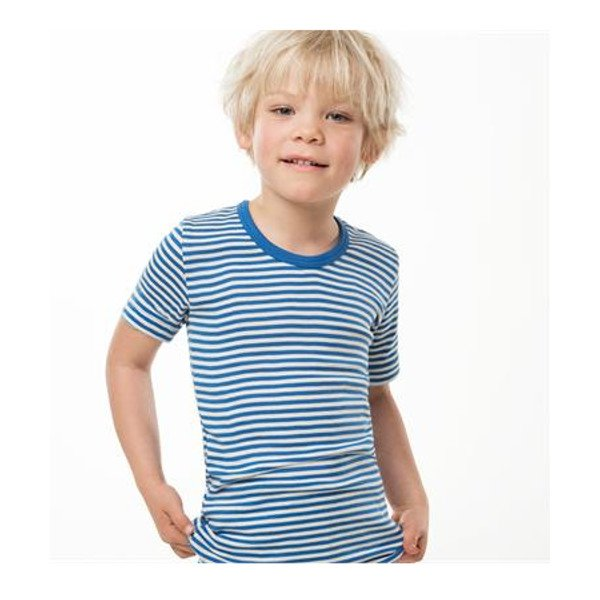 Short sleeve vest blue striped in organic cotton