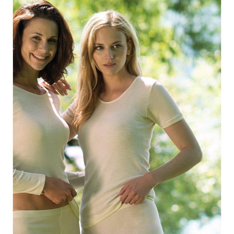 Short sleeve woman vest wool/silk