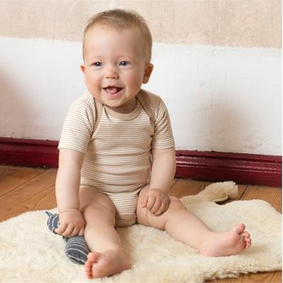 Short sleeves bodysuit in organic cotton