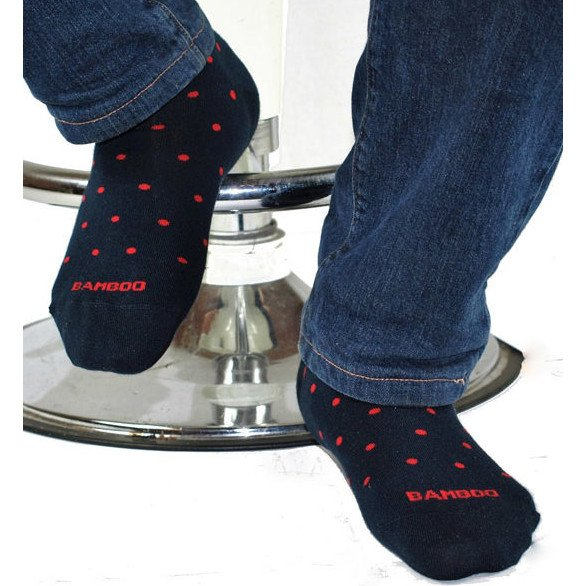 Short Sock Bamboo Navy with red dots