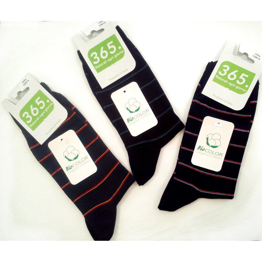 Short socks man Striped in organic cotton