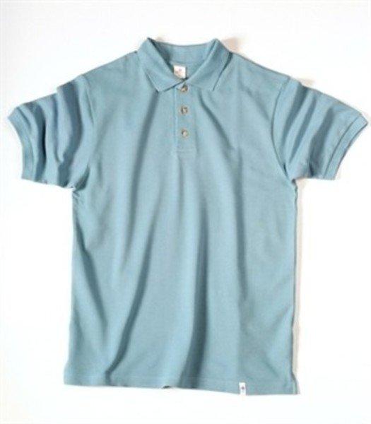 Short sleeve man blue polo in organic cotton