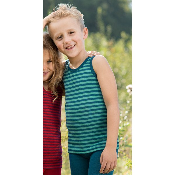 Sleeveless striped vest in organic wool and silk