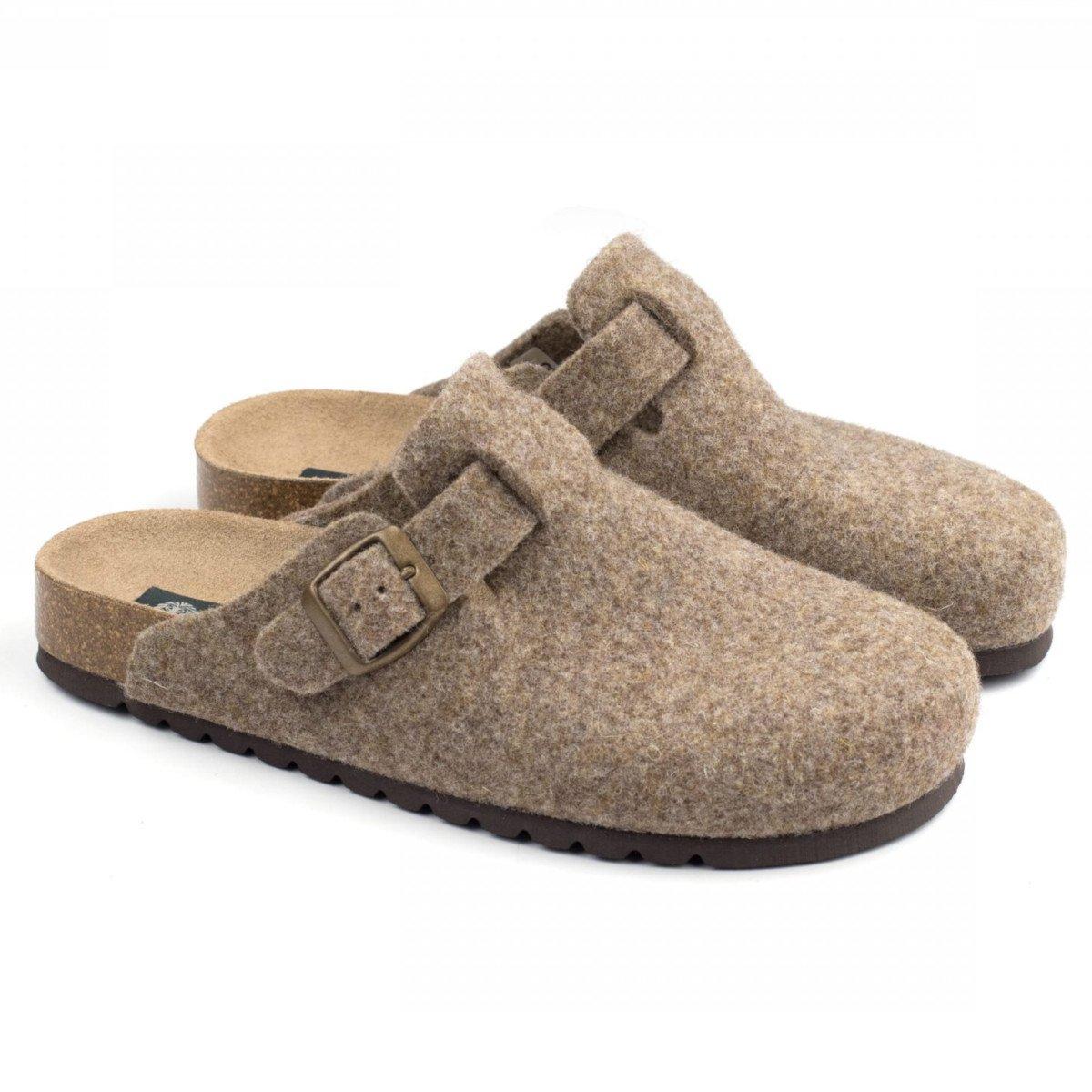 Slipper Berlin hazelnut in felted wool