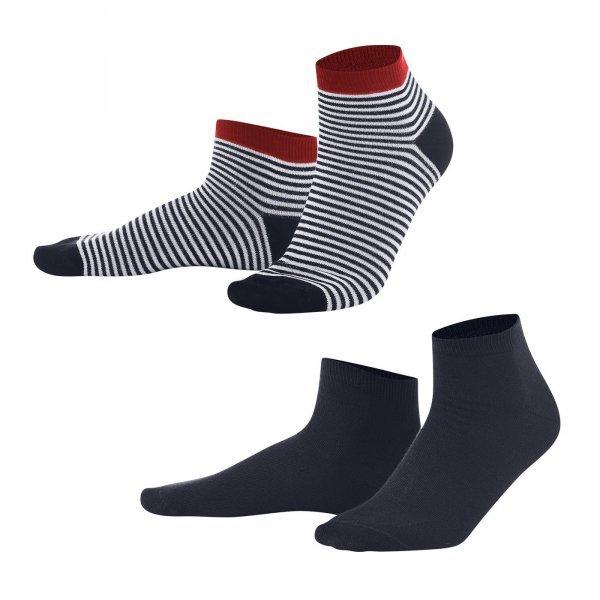 Sneaker socks striped/navy in organic cotton - pack of 2