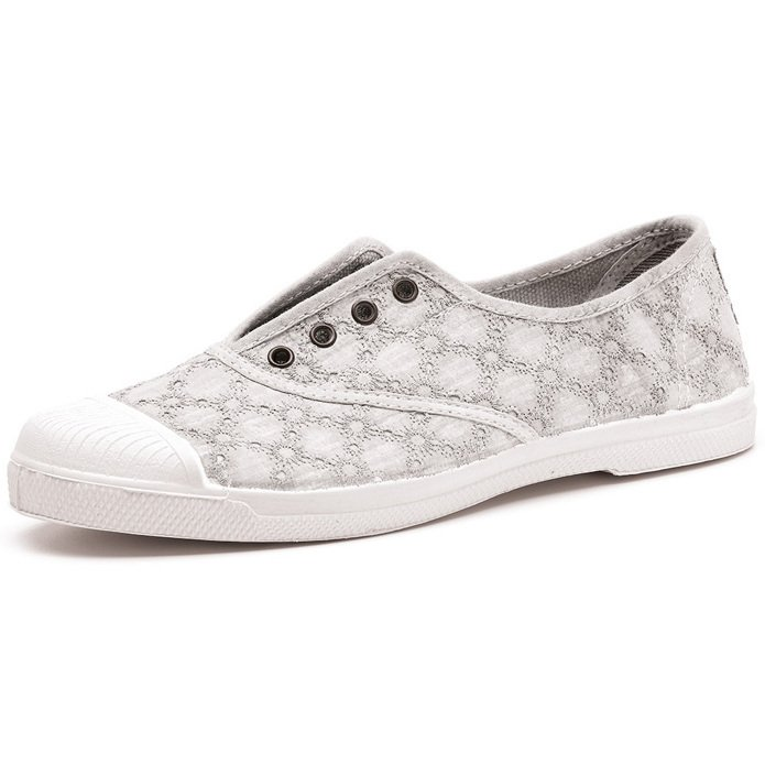 Sneaker with embroidery in organic cotton canvas