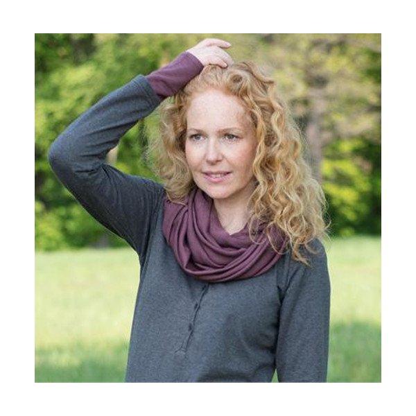 Snood scarf in silk and organic virgin wool