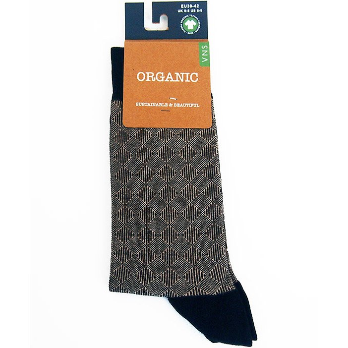 Socks in fair trade organic cotton black Rhombus