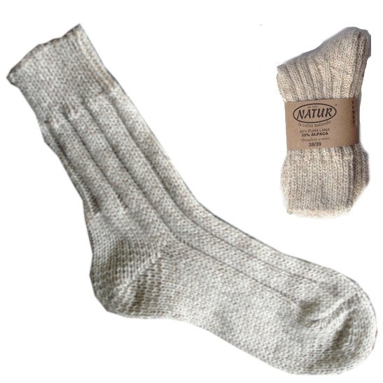 Socks in natural wool and alpaca wool