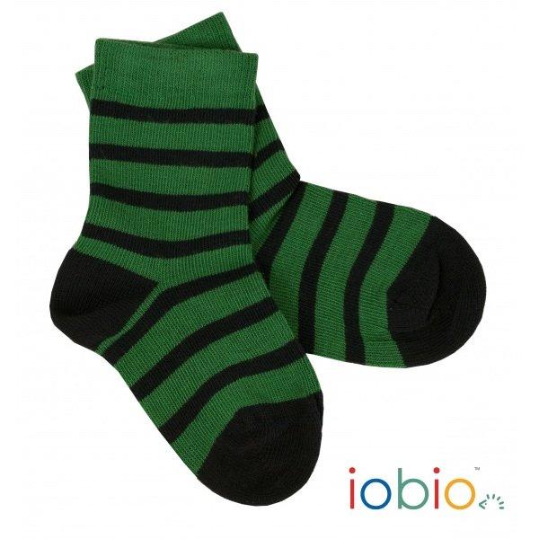 Short socks green/blu striped in organic cotton