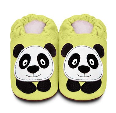 Soft sole leather baby shoes Panda