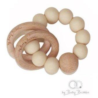 Sonaglio massaggiagengive in silicone e legno Simple Cream