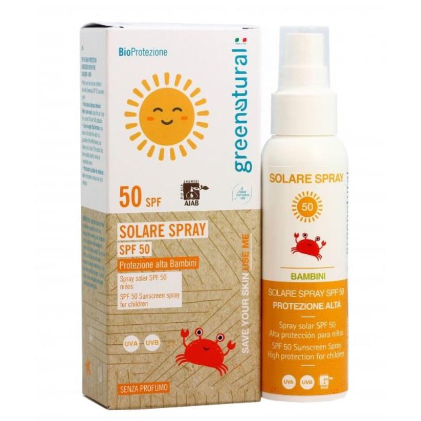 Spray Solare Bio SPF 50 bambini senza profumo Greenatural