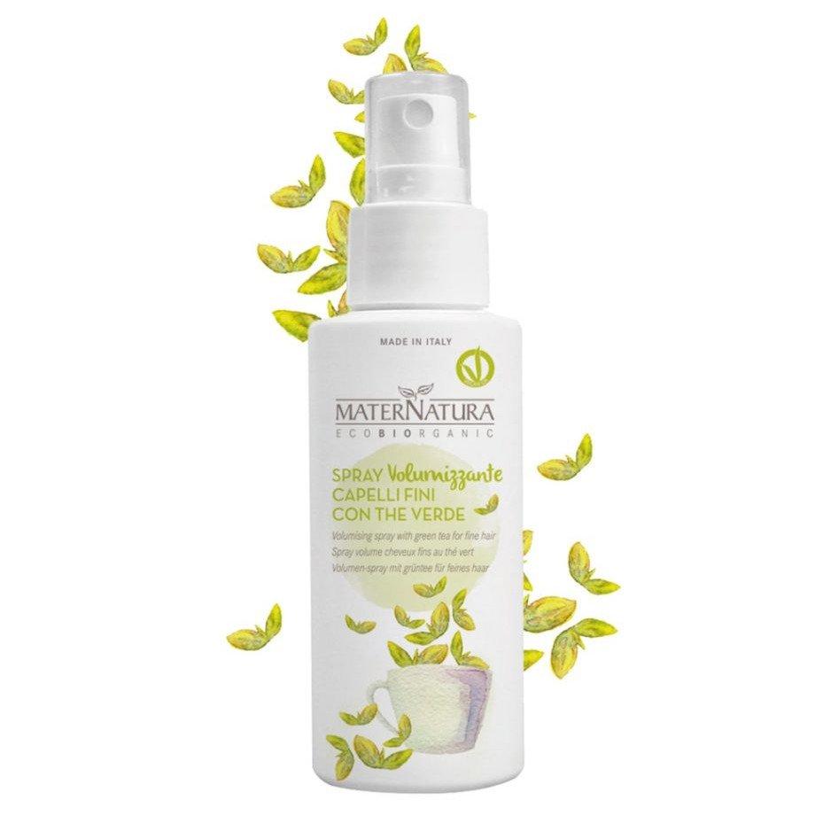 Spray volumizzante capelli sottili con the verde