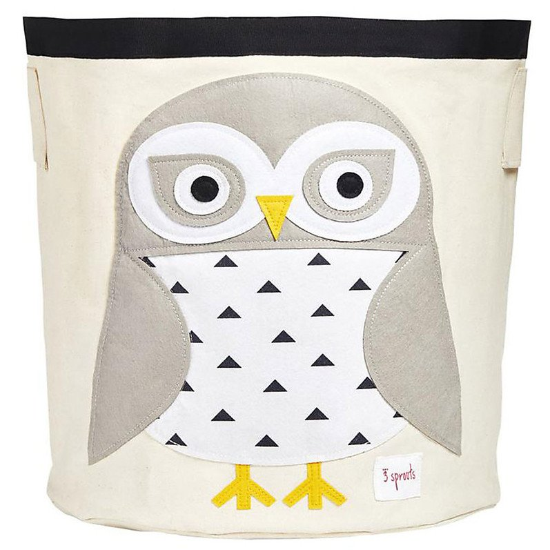 Storage Bin White Owl 100% cotton