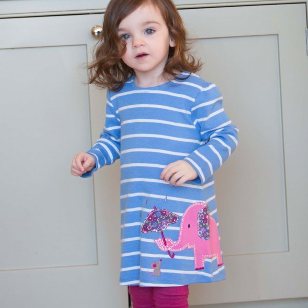 Stripy dress girl Ellie in organic cotton