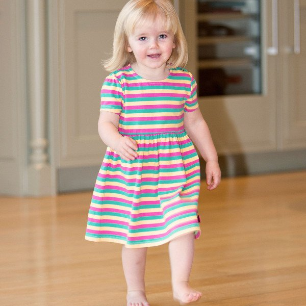 Stripy dress baby girl in organic cotton
