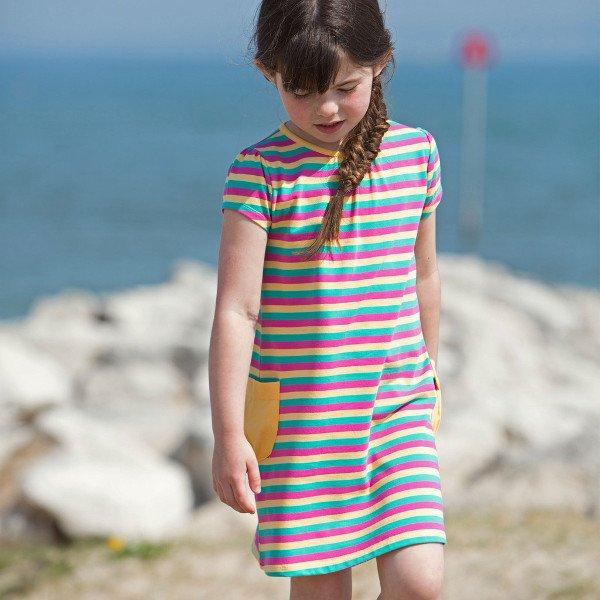 Stripy pocket dress girl in organic cotton