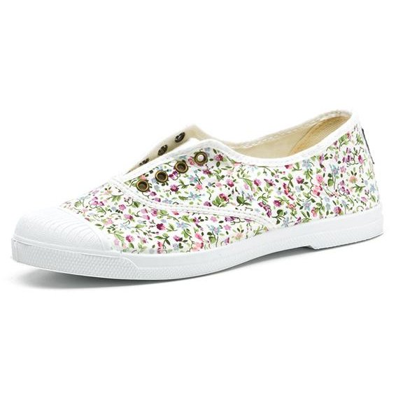 Summer white sneaker flowers in organic cotton canvas
