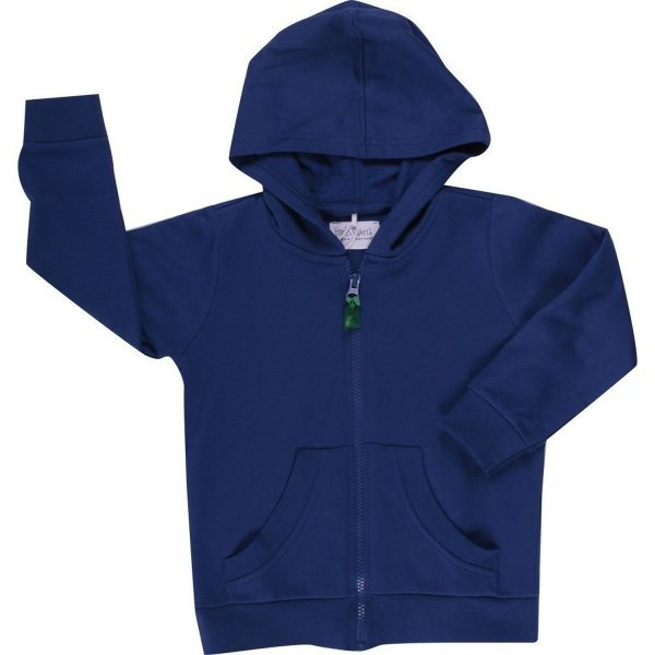 Sweat blue hoody with zip in organic cotton