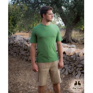 T-shirt green for men in hemp