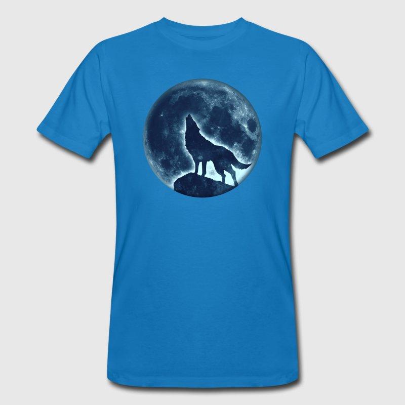 T-shirt uomo in cotone biologico Lupo blu