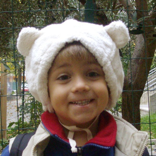 Teddy bear white baby hat in organic cotton