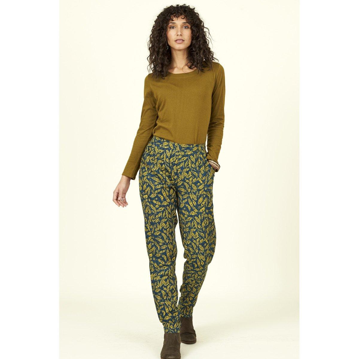 Trousers Batik Leaf in Lyocell