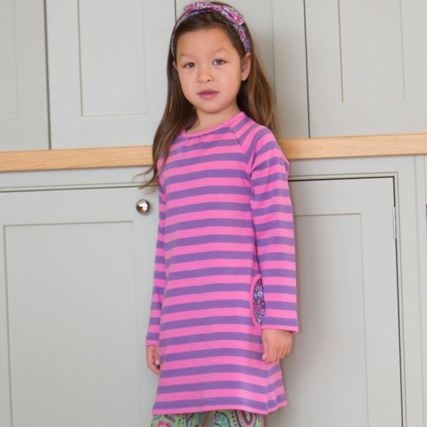 Tunic dress girl Stripy in organic cotton